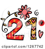 Clipart Of A Colorful Sketched Patterned Number 21 Royalty Free Vector Illustration by Prawny