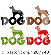 Clipart Of Silhouetted Dogs Over Text Royalty Free Vector Illustration