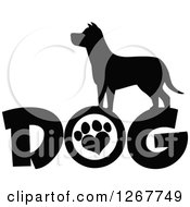 Clipart Of A Black And White Silhouetted Canine Over DOG Text With A Heart Shaped Paw Print In The Letter O Royalty Free Vector Illustration by Hit Toon