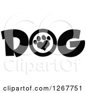 Clipart Of Black And White Dog Text With A Heart Shaped Paw Print Royalty Free Vector Illustration