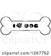 Clipart Of A Black And White Bone With I Love Dog Text And A Heart Shaped Paw Print Royalty Free Vector Illustration