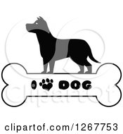 Clipart Of A Black And White Silhouetted Canine Over A Bone With I Love Dog Text And A Heart Shaped Paw Print Royalty Free Vector Illustration by Hit Toon