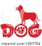 Clipart Of A Red Silhouetted Canine Over DOG Text With A Heart Shaped Paw Print In The Letter O Royalty Free Vector Illustration