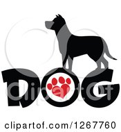 Clipart Of A Black Silhouetted Canine Over DOG Text With A Red Heart Shaped Paw Print Royalty Free Vector Illustration