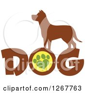 Clipart Of A Brown Silhouetted Pooch Over DOG Text With A Heart Shaped Paw Print Royalty Free Vector Illustration by Hit Toon