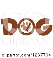 Clipart Of Brown Dog Text With A Heart Shaped Paw Print Royalty Free Vector Illustration