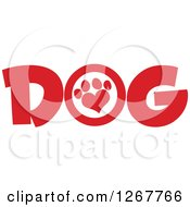 Clipart Of Red Dog Text With A Heart Shaped Paw Print Royalty Free Vector Illustration