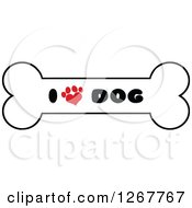 Clipart Of A Bone With I Love Dog Text And A Heart Shaped Paw Print Royalty Free Vector Illustration by Hit Toon