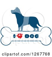 Clipart Of A Blue Silhouetted Canine Over A Bone With I Love Dog Text And A Heart Shaped Paw Print Royalty Free Vector Illustration by Hit Toon