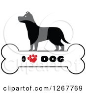 Clipart Of A Silhouetted Canine Over A Bone With I Love Dog Text And A Heart Shaped Paw Print Royalty Free Vector Illustration by Hit Toon