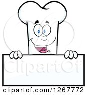 Clipart Of A Happy Cartoon Bone Character Over A Blank Sign Royalty Free Vector Illustration