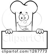 Clipart Of A Black And White Happy Cartoon Bone Character Over A Blank Sign Royalty Free Vector Illustration by Hit Toon