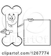 Clipart Of A Black And White Happy Cartoon Bone Character Presenting A Blank Sign Royalty Free Vector Illustration by Hit Toon