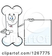 Clipart Of A Happy Cartoon Bone Character Presenting A Blank Sign Royalty Free Vector Illustration by Hit Toon
