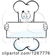 Clipart Of A Happy Cartoon Bone Character Holding Up A Blank Sign Royalty Free Vector Illustration by Hit Toon