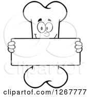 Clipart Of A Black And White Happy Cartoon Bone Character Holding Up A Blank Sign Royalty Free Vector Illustration by Hit Toon