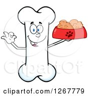 Clipart Of A Happy Cartoon Bone Character Holding A Bowl Of Dog Food Royalty Free Vector Illustration