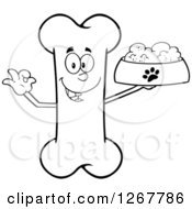 Clipart Of A Black And White Happy Cartoon Bone Character Holding A Bowl Of Dog Food Royalty Free Vector Illustration by Hit Toon
