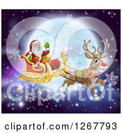Clipart Of A Red Nosed Reindeer Flying Santa In A Sleigh Over A Full Moon Royalty Free Vector Illustration