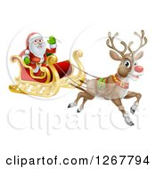 Clipart Of A Red Nosed Reindeer Flying Santa In A Sleigh Royalty Free Vector Illustration by AtStockIllustration