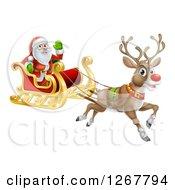 Red Nosed Reindeer Flying Santa In A Sleigh