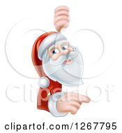 Clipart Of A Happy Santa Pointing And Looking Around A Sign Royalty Free Vector Illustration