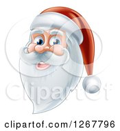 Clipart Of A Happy Santa Face With A Beard Royalty Free Vector Illustration by AtStockIllustration