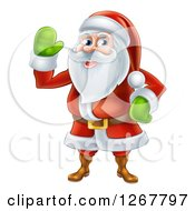 Clipart Of A Friendly Waving Santa Royalty Free Vector Illustration