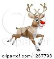 Clipart Of A Happy Rudolph Red Nosed Reindeer Running Or Flying Royalty Free Vector Illustration by AtStockIllustration