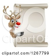 Clipart Of A Christmas Red Nosed Rudolph Reindeer Presenting A Blank Scroll Sign Royalty Free Vector Illustration
