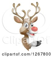 Clipart Of A Happy Rudolph Red Nosed Reindeer Pointing Around A Sign Royalty Free Vector Illustration