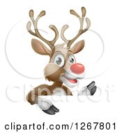 Clipart Of A Happy Rudolph Red Nosed Reindeer Waving Over A Sign Royalty Free Vector Illustration