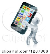 Clipart Of A 3d Silver Man Carrying A Giant Smart Phone Royalty Free Vector Illustration