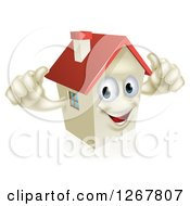 Clipart Of A Happy House Character Holding Two Thumbs Up Royalty Free Vector Illustration by AtStockIllustration