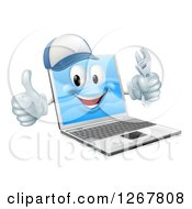 Clipart Of A 3d Happy Laptop Computer Repair Character Holding A Wrench And Thumb Up Royalty Free Vector Illustration by AtStockIllustration