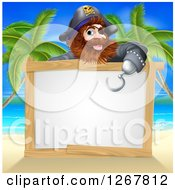 Clipart Of A Male Pirate Pointing Down Over A Blank Sign With His Hook Hand On A Tropical Beach Royalty Free Vector Illustration by AtStockIllustration
