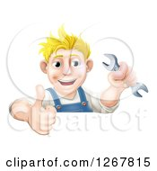 Clipart Of A Happy Blond Caucasian Mechanic Man Holding A Wrench And Thumb Up Over A Sign Royalty Free Vector Illustration