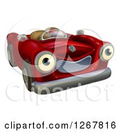 Clipart Of A Happy Red Car Character Royalty Free Vector Illustration