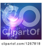 Clipart Of A Background Of Vortex Glowing Swirl Lights On Blue Royalty Free Vector Illustration