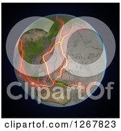 Clipart Of A 3d Earth Showing The Fault Lines Between Tectonic Plates In The East Asia Region Over Black Royalty Free Illustration