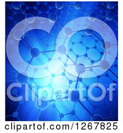 Clipart Of A Nanotechnology Graphene Atomic Structure With Blue Lighting Royalty Free Illustration