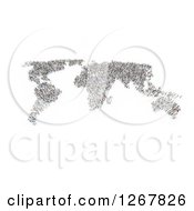 Clipart Of A World Map Formed Of People Over White Royalty Free Illustration by Mopic