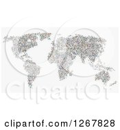 Clipart Of A World Map Formed Of People On White Royalty Free Illustration