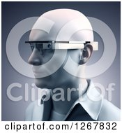 Clipart Of A 3d Man Wearing Google Glass Eyewear Royalty Free Illustration