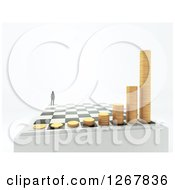 Clipart Of A 3d Chess Board With A Man And Growing Stacks Of Coins Over Shaded White Royalty Free Illustration