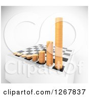 Clipart Of A 3d Chess Board With Growing Stacks Of Coins Over Shaded White Royalty Free Illustration by Mopic