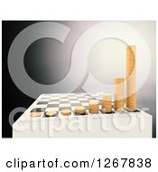 Clipart Of A 3d Chess Board With Growing Stacks Of Coins Over Gray Royalty Free Illustration by Mopic