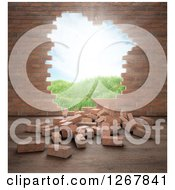 Clipart Of A 3d Brick Wall With A Hole And View Of An Outdoor Landscape Royalty Free Illustration by Mopic