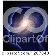 Clipart Of A 3d Silhouetted Head With A Spiral Galaxy Inside Royalty Free Illustration