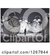 Clipart Of A 3d Tiny Businessman Surrounded By Metal Alarm Clocks Royalty Free Illustration